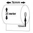 Bonrolle, Normalpapier (mit Durchschlag - weiß/gelb), 76mm, Länge: 25m, VE: 50 Stk.